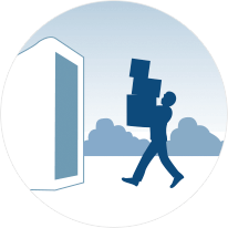 Illustration of man packing a portable storage cube.