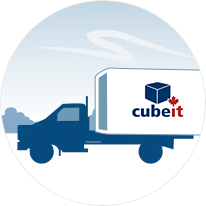 Illustration of a truck moving a portable storage cube.